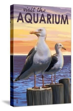 Visit the Aquarium, Sea Gulls Scene-Lantern Press-Stretched Canvas Print