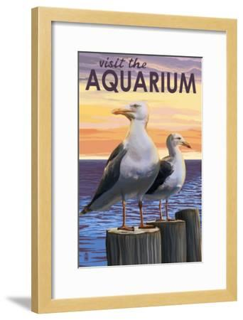 Visit the Aquarium, Sea Gulls Scene-Lantern Press-Framed Art Print