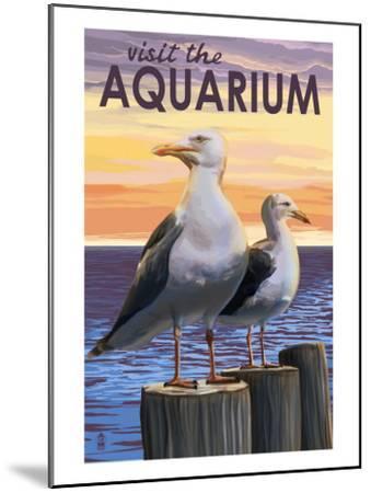 Visit the Aquarium, Sea Gulls Scene-Lantern Press-Mounted Art Print