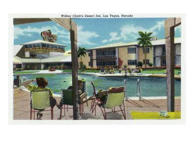 Las Vegas, Nevada, Exterior View of Wilbur Clark's Desert Inn and Swimming Pool-Lantern Press-Framed Art Print