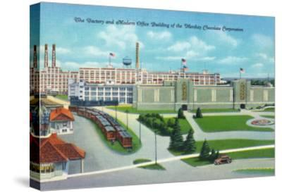 Hershey, Pennsylvania, General View of Hershey Chocolate Factory and Office Building-Lantern Press-Stretched Canvas Print