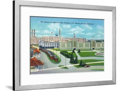 Hershey, Pennsylvania, General View of Hershey Chocolate Factory and Office Building-Lantern Press-Framed Art Print
