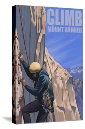 Mount Rainier, Washington, Rock Climber-Lantern Press-Stretched Canvas Print