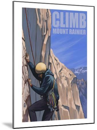 Mount Rainier, Washington, Rock Climber-Lantern Press-Mounted Art Print