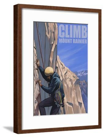 Mount Rainier, Washington, Rock Climber-Lantern Press-Framed Art Print