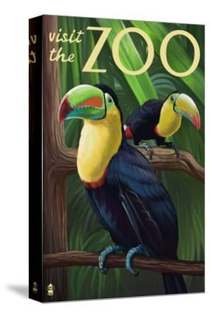 Visit the Zoo, Tucan Scene-Lantern Press-Stretched Canvas Print