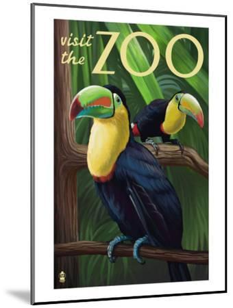 Visit the Zoo, Tucan Scene-Lantern Press-Mounted Art Print
