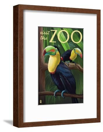 Visit the Zoo, Tucan Scene-Lantern Press-Framed Art Print