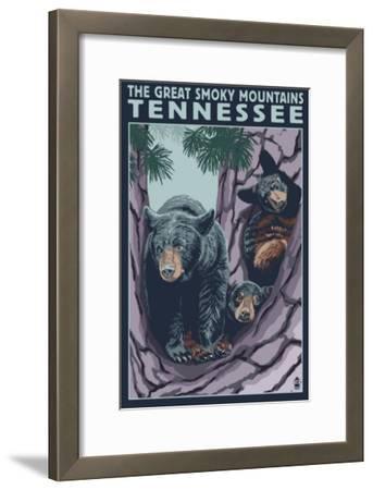 Great Smoky Mts National Park, TN, Black Bear and Cubs in Tree-Lantern Press-Framed Art Print