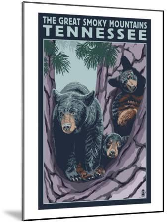 Great Smoky Mts National Park, TN, Black Bear and Cubs in Tree-Lantern Press-Mounted Art Print