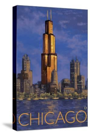 Chicago, Illinois, View of the Skyline-Lantern Press-Stretched Canvas Print
