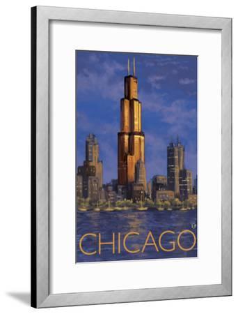 Chicago, Illinois, View of the Skyline-Lantern Press-Framed Art Print