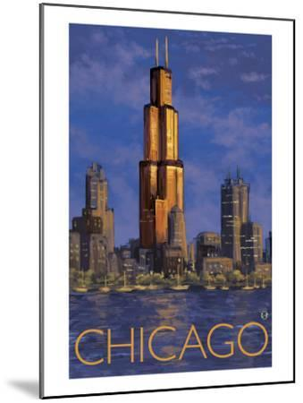 Chicago, Illinois, View of the Skyline-Lantern Press-Mounted Art Print