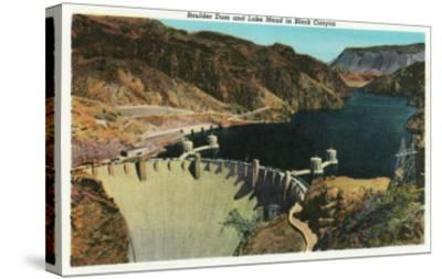 Hoover Dam, Nevada, View of the Dam, Lake Mead in Black Canyon-Lantern Press-Stretched Canvas Print
