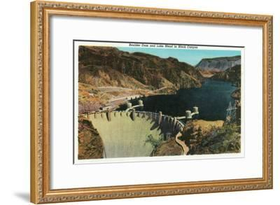 Hoover Dam, Nevada, View of the Dam, Lake Mead in Black Canyon-Lantern Press-Framed Art Print