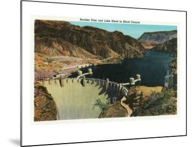 Hoover Dam, Nevada, View of the Dam, Lake Mead in Black Canyon-Lantern Press-Mounted Art Print