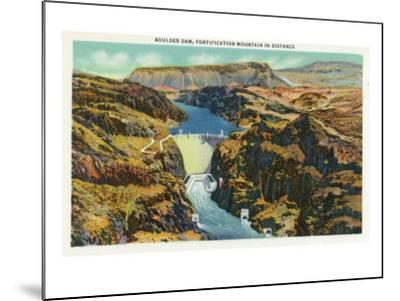 Hoover Dam, Nevada, Aerial View of the Dam, Fortification Mountain in the Distance-Lantern Press-Mounted Art Print