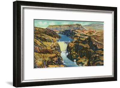 Hoover Dam, Nevada, Aerial View of the Dam, Fortification Mountain in the Distance-Lantern Press-Framed Art Print