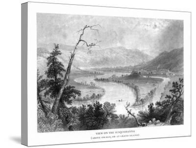 New York, View of the Grand Island on the Susquehanna River above Owego-Lantern Press-Stretched Canvas Print