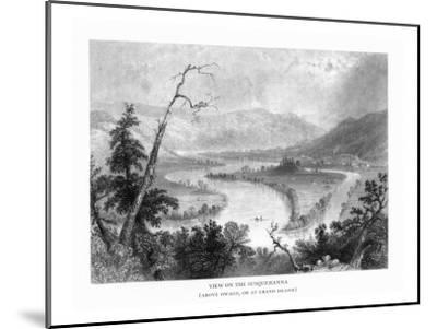 New York, View of the Grand Island on the Susquehanna River above Owego-Lantern Press-Mounted Art Print