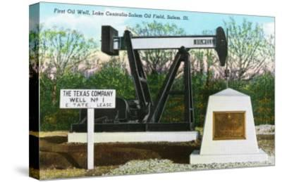 Salem, Illinois, View of the Lake Centralia-Salem Oil Field's First Oil Well-Lantern Press-Stretched Canvas Print
