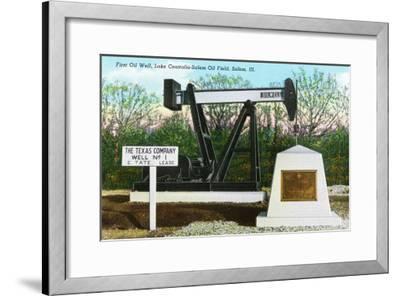 Salem, Illinois, View of the Lake Centralia-Salem Oil Field's First Oil Well-Lantern Press-Framed Art Print