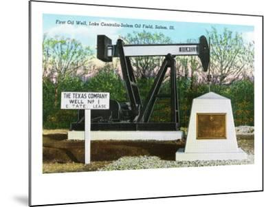 Salem, Illinois, View of the Lake Centralia-Salem Oil Field's First Oil Well-Lantern Press-Mounted Art Print