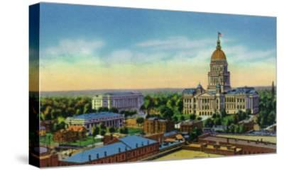 Springfield, Illinois, Aerial View of the State Capitol, Supreme Court Bldg, Centennial Bldg-Lantern Press-Stretched Canvas Print