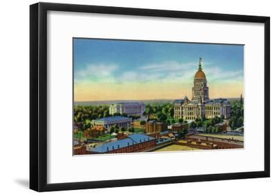 Springfield, Illinois, Aerial View of the State Capitol, Supreme Court Bldg, Centennial Bldg-Lantern Press-Framed Art Print