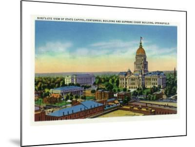 Springfield, Illinois, Aerial View of the State Capitol, Supreme Court Bldg, Centennial Bldg-Lantern Press-Mounted Art Print