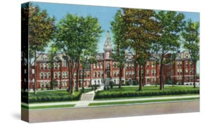 Davenport, Iowa, View of St. Ambrose College-Lantern Press-Stretched Canvas Print
