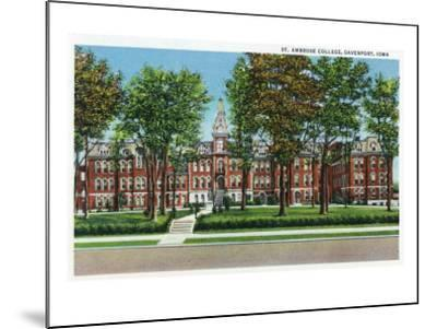 Davenport, Iowa, View of St. Ambrose College-Lantern Press-Mounted Art Print