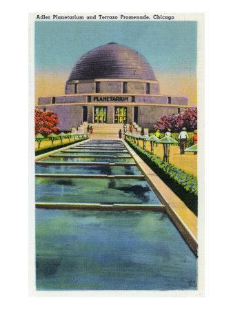 Chicago, Illinois, Exterior View of the Adler Planetarium and Terrazo Promenade-Lantern Press-Framed Art Print