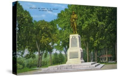 Galena, Illinois, View of the Ulysses S. Grant Statue in Grant Park-Lantern Press-Stretched Canvas Print