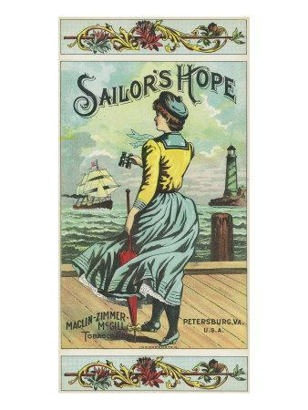 Petersburg, Virginia, Sailor's Hope Brand Tobacco Label-Lantern Press-Framed Art Print
