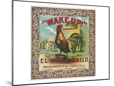 Petersburg, Virginia, Wake Up Brand Tobacco Label-Lantern Press-Mounted Art Print