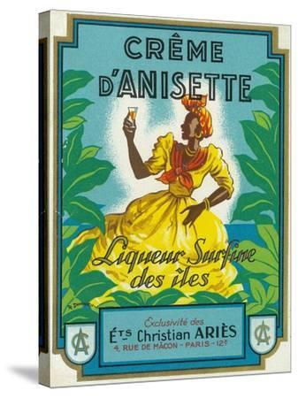 Creme d'Anisette Liqueur Surfine des iles Brand Rum Label-Lantern Press-Stretched Canvas Print