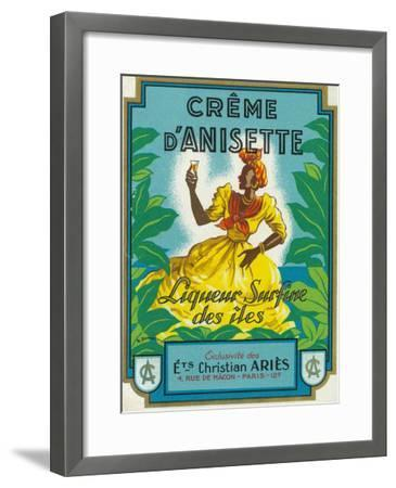 Creme d'Anisette Liqueur Surfine des iles Brand Rum Label-Lantern Press-Framed Art Print
