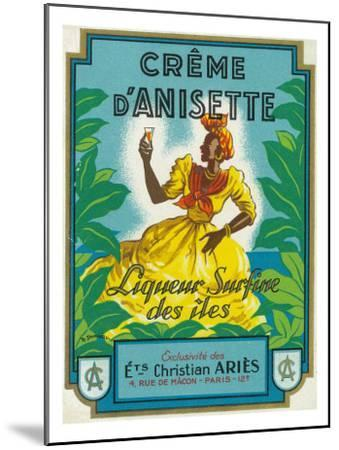 Creme d'Anisette Liqueur Surfine des iles Brand Rum Label-Lantern Press-Mounted Art Print