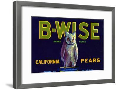 California, B-Wise Brand Pear Label-Lantern Press-Framed Art Print