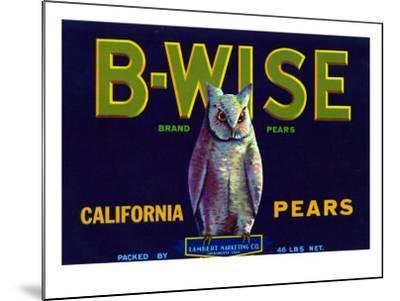 California, B-Wise Brand Pear Label-Lantern Press-Mounted Art Print
