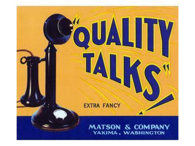 Yakima, Washington, Quality Talks Brand Apple Label-Lantern Press-Framed Art Print