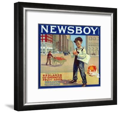 Redlands, California, Newsboy Brand Citrus Label-Lantern Press-Framed Art Print