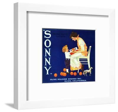 Olive, California, Sonny Brand Citrus Label-Lantern Press-Framed Art Print