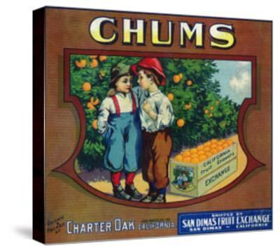 Charter Oak, California, Chums Brand Citrus Label-Lantern Press-Stretched Canvas Print