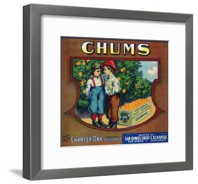 Charter Oak, California, Chums Brand Citrus Label-Lantern Press-Framed Art Print