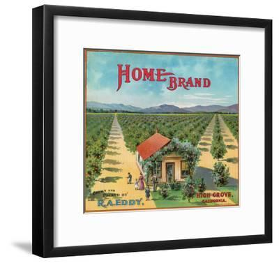 Highgrove, California, Home Brand Citrus Label-Lantern Press-Framed Art Print