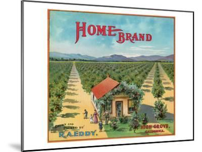 Highgrove, California, Home Brand Citrus Label-Lantern Press-Mounted Art Print