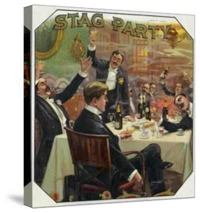Stag Party Brand Cigar Outer Box Label-Lantern Press-Stretched Canvas Print