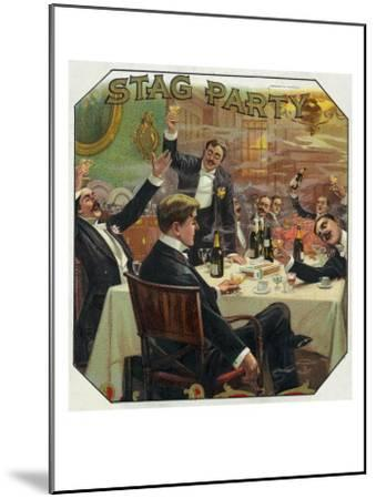 Stag Party Brand Cigar Outer Box Label-Lantern Press-Mounted Art Print